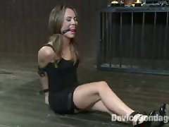 Filthy Whore Kristina Rose Endures The First Part Of Her Live Show With Her Arms In Metal Stocks, Vicious Nipple Clamps, Weights, And Lots Of Orgasms